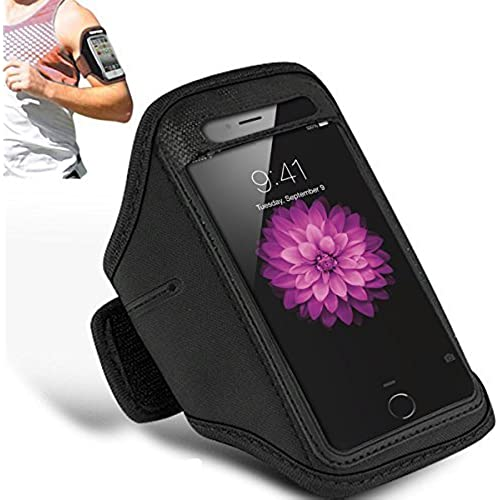 SAMSUNG GALAXY S7 EDGE - Adjustable Armband Gym Running Jogging Sports Case Cover Holder + Polishing Cloth ( Black ) Sales
