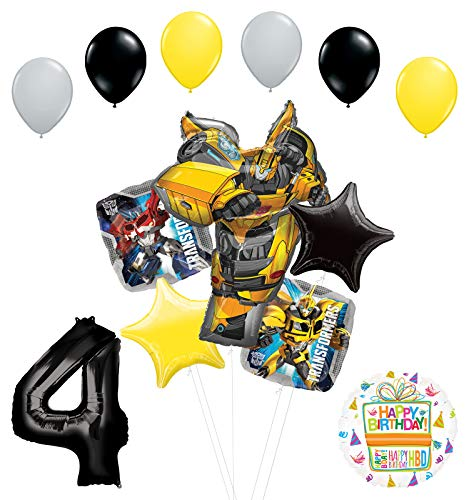 Transformers Mayflower Products Bumblebee 4th Birthday Party Supplies Balloon Bouquet Decorations for $<!--$19.99-->