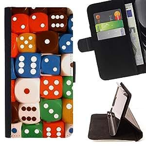 BullDog Case - FOR/HTC DESIRE 816 / - / dices colorful number poker card game /- Monedero de cuero de la PU Llevar cubierta de la caja con el ID Credit Card Slots Flip funda de cuer