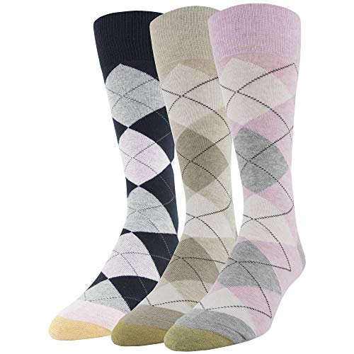 Pink Patterned - Gold Toe Men's Carlyle Argyle Crew Socks, 3 Pairs, pink/oatmeal/navy, Shoe Size: 6-12.5