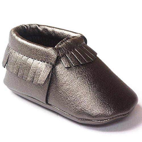 Clode® Premium Leder Lauflernschuhe Krabbelschuhe Babyschuhe weiche Sohle Krippe Schuhe Sneaker Neugeborene 0-18 Monate Dunkelgrau