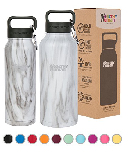 Healthy Human Insulated Stainless Steel Water Bottle Thermos - Ideal for Sports, Outdoors, Men, Women & Kids. Leak Proof. Cold 24Hours - Stone White - 32 oz