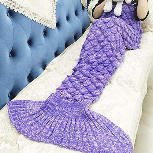ILSELL Wearable Mermaid Tail Blanket Crochet, All Seasons Super Soft Warm Comfy Knitted Bed Blankets Sofa Living Room Quilt for Kids and Adults, Fish-Scales Pattern(3 pcs)