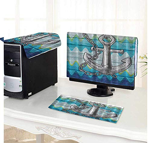 Leighhome Computer dustproof Three-Piece Nautical with Steel Chain Rustic  Wooden Planks Buoy Kids Home Textiles for LED LCD Screens Flat Panel HD