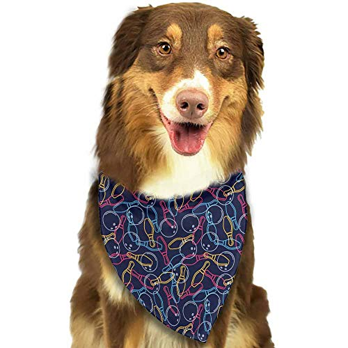Dog Bandana,Bowling Balls Pins and Shoes in Vibrant Colored Outline Style Puppy Doggie Scarf Kerchief -