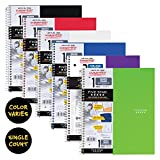 "Five Star Spiral Notebook, 1 Subject, Quad Ruled Paper, 100 Sheets, 11"" x 8-1/2"", Color Will Vary (06190)"