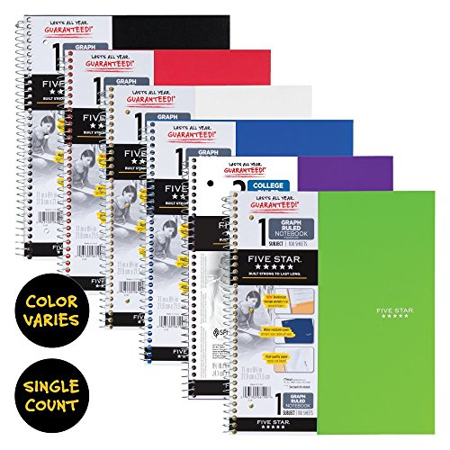 five star spiral notebook  1 subject  graph ruled paper
