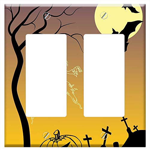 Switch Plate Double Rocker/GFCI - Halloween Poster Drawing Scary Pumpkin Creepy ()