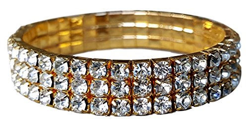 Ring Stone Gold Multi (Pashal Three Row Multi Stone Adjustable Stretch Scallop Setting Stretch Elastic Cocktail Ring by (Bracelet Gold - Diamond))