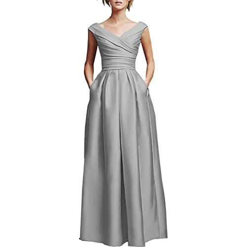 mashahan Simple Elegant V-neckline Satin Simple Long Bridesmaid Dresses