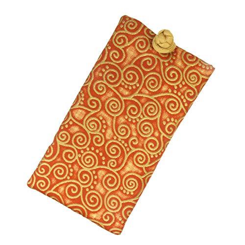 Handmade Soft Eyeglass Case (Sunglasses Pouch), Cotton & Raw Thai Silk Fabric, Rust Orange