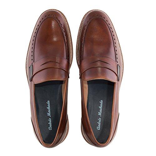 Andres Machado.6332.mens Mockasiner I Leather.made I Spain.mens Stora Storlekar: Oss M13 Till M16 Mahognyläder