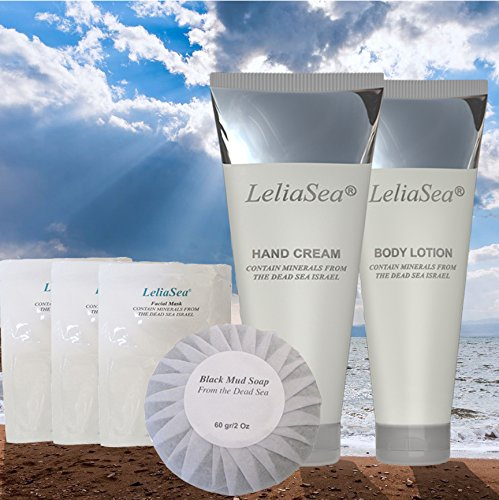 LeliaSea 6 in 1 Spa Gift Basket by Dead Sea Minerals • World Renown Luxury Hand Cream, Body Lotion, 3 Facial Masks and Mud Soap • Great Gifts for Women or Men by LeliaSea (Image #2)