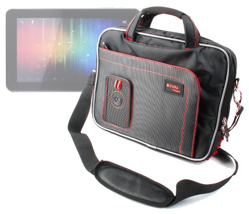 DURAGADGET Tough Black & Red Water Resistant Tablet Shoulder Case with Multiple Accessory Storage Compartments for PIPO M9 Pro 10.1