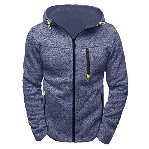 Bleuzee Winter Hoodies Sweatshirt Polka Dot Print Zipper Mens Hoody Sweatshirt Brand Casual Sudaderas Hombre blue -