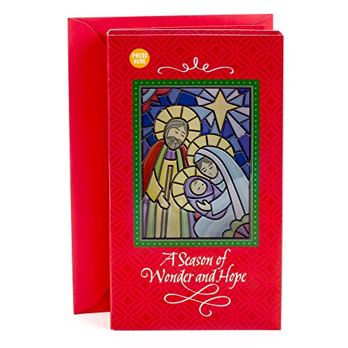 Hallmark Christmas Religious Greeting Card Light and Song Card (Stained Glass Holy Family - Religious Christmas Lights