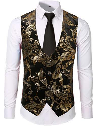 ZEROYAA Mens Luxury Design Gold Printed Prom Suit Vest Waistcoat ZLSV07 Gold Small ()