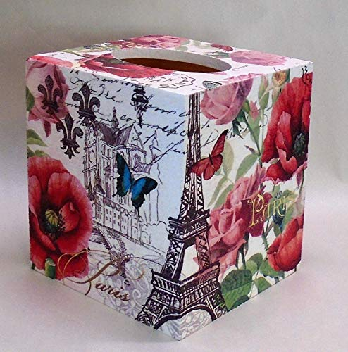 Handmade Decoupage Wood Tissue Box Cover, Paris, Eiffel Tower, Red Floral