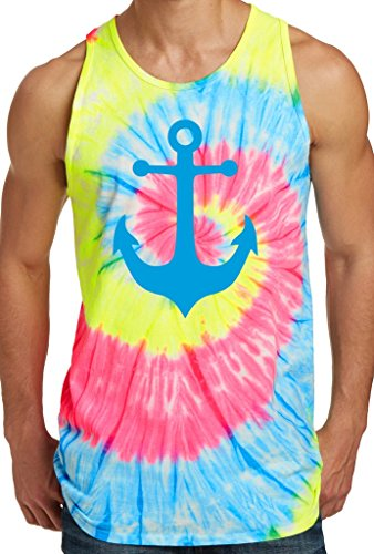 Mens BLUE ANCHOR Tie Dye Tank Top, XL Neon Rainbow