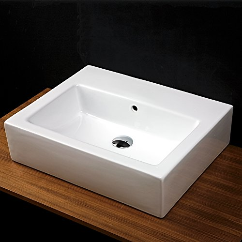 Wall-mounted or vessel porcelain washbasin with overflow, 23 5/8