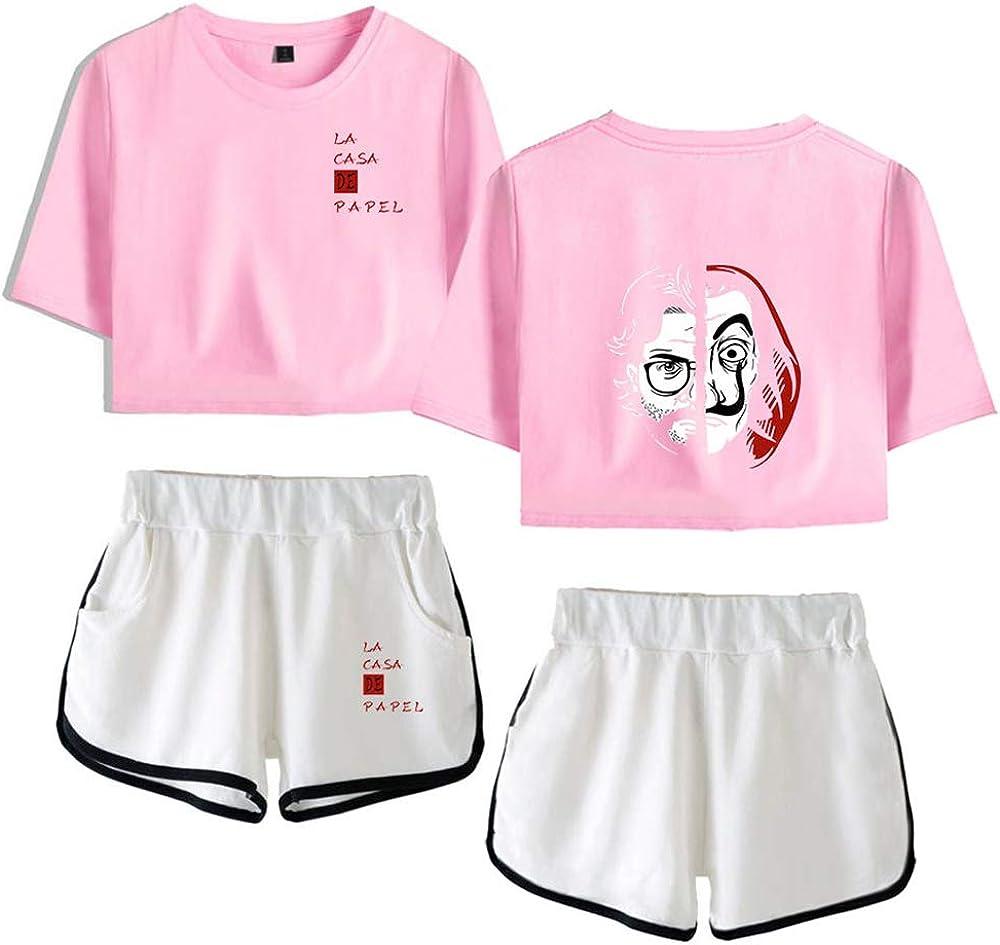 Casual T-Shirt da Donna Top Corto Set Denaro Denaro LA CASA DE Papel T-Shirt con Ombelico Abito da Tuta Tuta da Lavoro Completo
