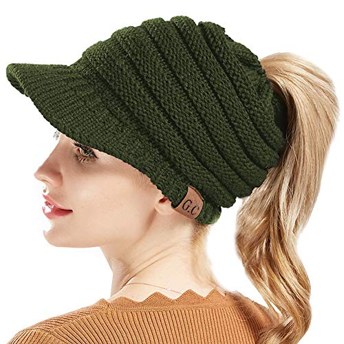 Cap Army Service (BeanieTail Warm Knit Messy High Bun Ponytail Visor Beanie Cap (Army Green))