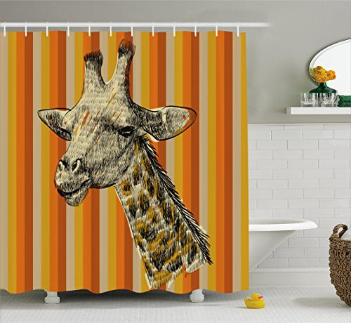 Giraffe Shower Curtain Set by Ambesonne, Sketch Style Portrait of a Giraffe Hipster African Animal Zoo Safari Wildlife Themed Art, Fabric Bathroom Decor with Hooks, 70 Inches, Multi