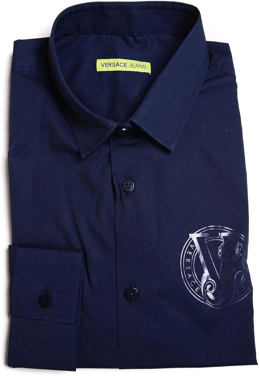 Versace Jeans - Camisa Hombre B1GOB6E0 Blue Pop Stretch ...