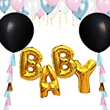 Gender Reveal Black balloon Neutral Party Supplies Decorations Baby Shower Balloons Gold Mylar Banner with Pink and Blue Latex Garland Popper Ornaments Box Kits