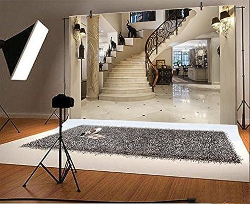 LFEEY 5 x 3 ft Home escaleras telón de fondo de lujo casa decoración interior niños niñas familia retrato fotografía fondo foto estudio Props: Amazon.es: Electrónica