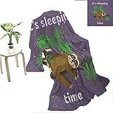 "Mademai Sloth VelvetPlushBlanket Cute Cartoon Character Sleeping on Branch Jungle Animal in Night Sky Kids Theme Novelty Blanket 70""x50"" Plum Brown Green"