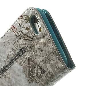 MaryJane tarjetero 12020023J PU Funda de piel con tapa para iPhone 6 - embalaje de venta-de la torre Eiffel