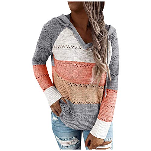 KangCat Women Casual Striped Print Patchwork V-Neck Knitted Blouse Long Sleeves Hooded Sweater Hollow Out Pullover Tops