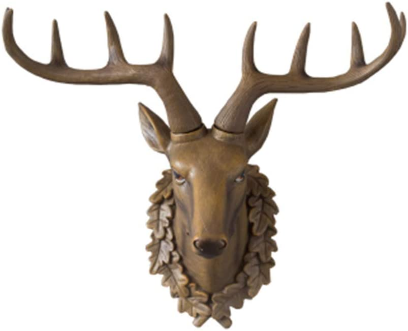 LIUSHI Deer Head Wall Hanging, Deer Sculpture Bust Statue Decoration Animal Head Trophy Wall Creative Wall Retro Crafts,A