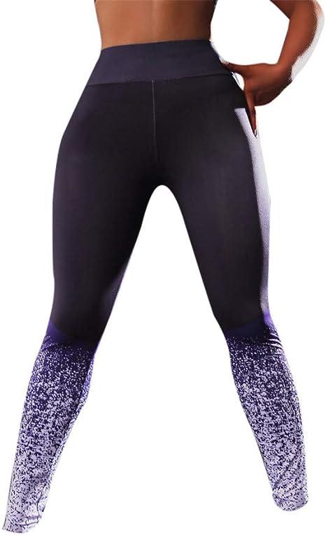 Women/'s High Waist Yoga Pants Elastic Fit Sports Capri Leggings Workout Stretchy