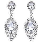 BriLove Women's Wedding Bridal Crystal Teardrop Cluster Beaded Chandelier Dangle Pierced Earrings