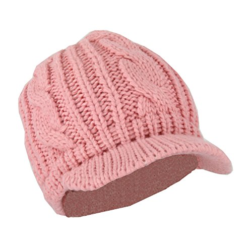 Pink Knit Beanie Hat - 8