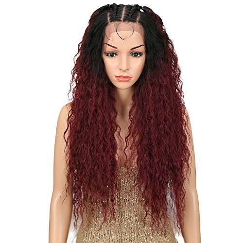 Noble 28 Water Wavy Free Part Lace Frontal Wigs With Baby Hair Hight Temperature Synthetic Human Hair Feeling Wigs For Black Women 180% Density Wigs Ombre Color 200g(TT1B/530)