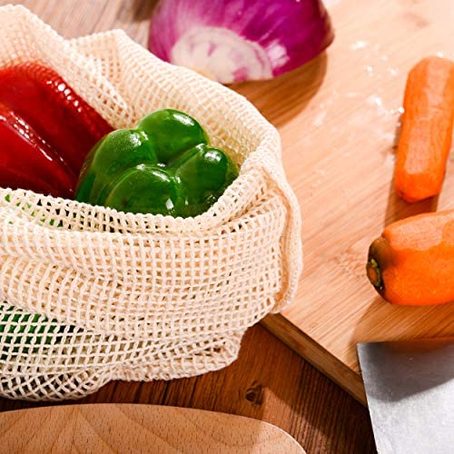 Organic Cotton Mesh Produce Bags - Reusable Mesh Produce Bags - Washable Vegetable Bags for Refrigerator - Grocery & Bulk Storage Bags - Set of 5 Large Bags - 16 x 9 in - Drawstring, Tare Weight, Wooden Toggle