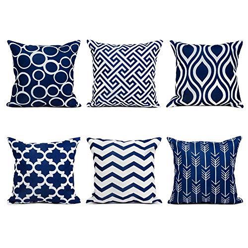 IAMUP 9PC/Set Home Decorative Pillowcase Cotton Linen Sofa Cushion Throw Pillow Elegent Cover Navy ()
