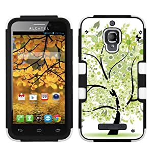 One Tough Shield ? Hybrid-Layer Phone Case for Alcatel One Touch Fierce 7024W - (Green Tree)