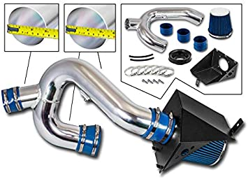 Filter For 11-14 Ford F150 5.0L V8 R/&L Racing 3.5 Blue Heat Shield Cold Air Intake Kit