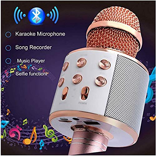 Handheld Bluetooth Wireless Karaoke Microphone Portable Karaoke Player with Speaker for Smartphones and PCs Home KTV Music Playing Machine Wireless Bluetooth Karaoke Microphone ( Color : Rose Gold ) by Xiuzhifuxie (Image #1)