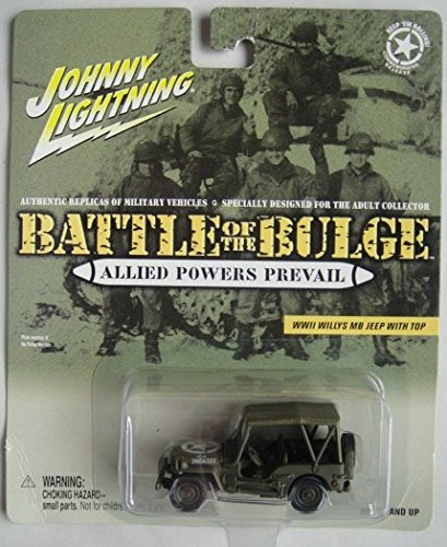 JOHNNY LIGHTNING BATTLE OF THE BULGE ALLIED POWERS PREVAIL WWII WILLYS MB JEEP WITH TOP DIE-CAST - Top Bulge