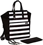 Image of Diaper Bag Backpack Convertible Baby Bag by Babyboo 16 - with Changing Pad and Stroller Strap - Super Versatile and Classy - Black and White - Cute Designer Diapers Bags Cotton (Black White)