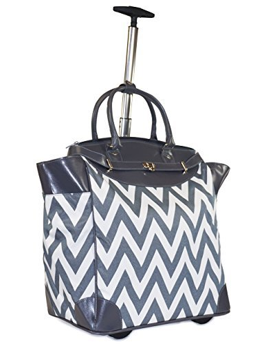 Ever Moda Chevron Travel Bag with Wheels Luggage Carry On for Laptop (Grey) (Tote Belted Pocket Handbag)