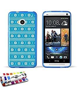 Carcasa Flexible Ultra-Slim HTC ONE/M7AU diseño exclusif [Pull invierno azul claro] [azul] de MUZZANO + lápiz capacitivo y gamuza Muzzano® offerts–la protección antiarañazos Ultime, elegante y durable para tu HTC One/M7