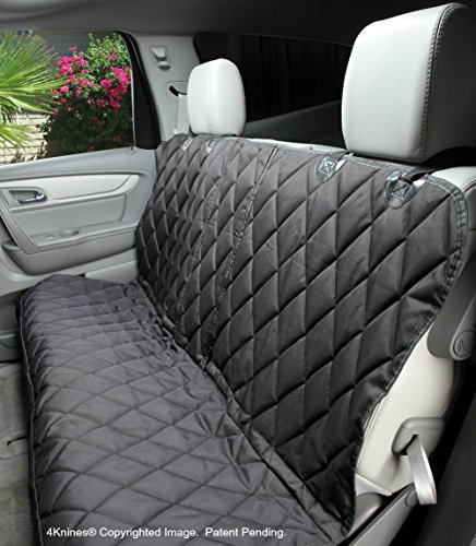 4Knines Dog Seat Cover Without Hammock for Fold Down Rear Bench Seat 60/40 Split and Middle Seat Belt Capable - Heavy Duty - Black Regular - Fits Most Cars, SUVs, and Small Trucks - USA Based Company by 4Knines (Image #2)
