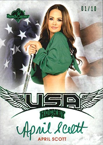 2014 Bench Warmer Hockey USA Exclusive Autographs Green Foil #5 April Scott Auto /10 - NM-MT