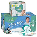 Pampers Bundle - Easy Ups Training Pants Pull On Disposable Diapers for Boys, Size 6 (4T-5T), 104 Count, ONE MONTH SUPPLY with Baby Wipes Sensitive 6X Pop-Top Packs, 336 Count